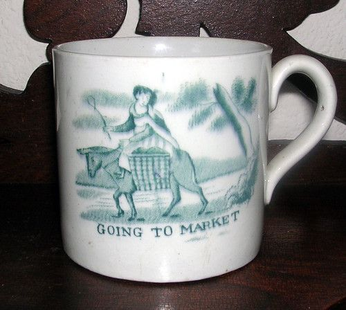 1800s Staffordshire Transfer Childs Mug Going To Market Come Away Pompey Ebay Mugs Childrens Mugs Childrens Cup