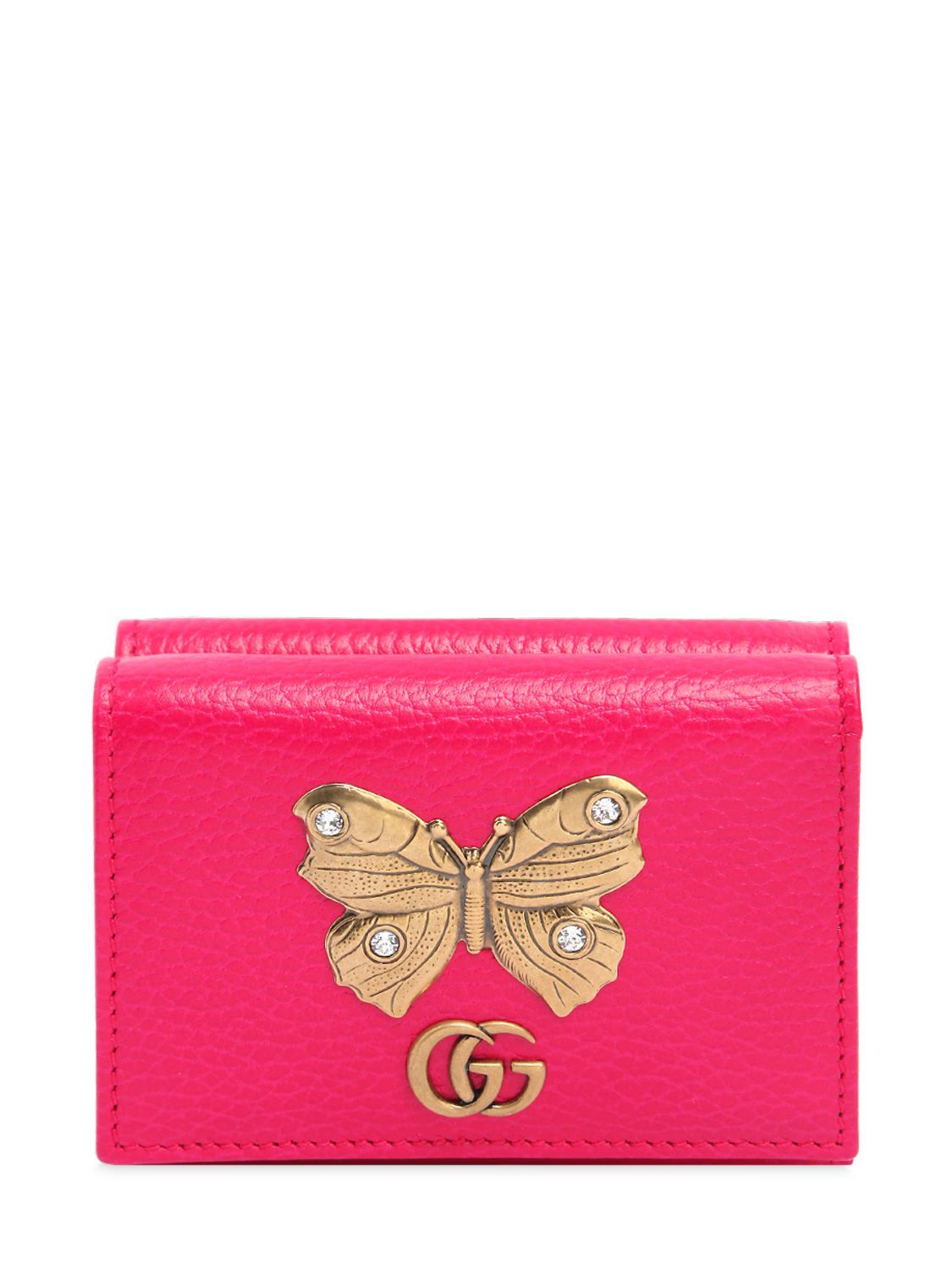 14762936d1e505 GUCCI SMALL BUTTERFLY WALLET. #gucci # Leather Card Case, Pink Leather,  Bright
