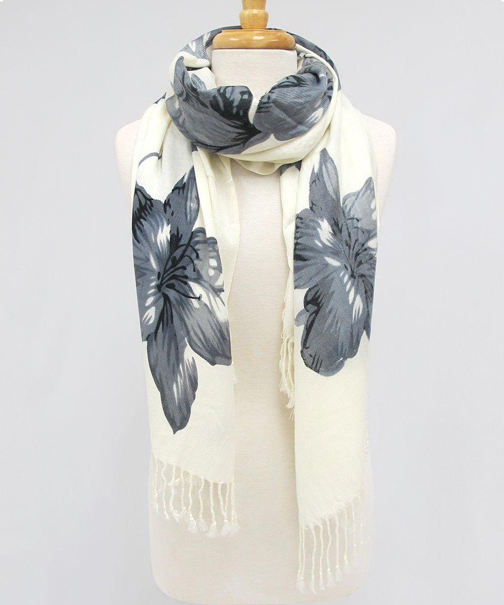 Fringe Fierce  Flowered Scarf