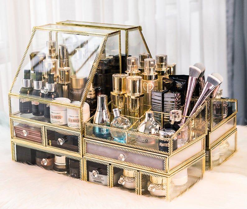Gold Makeup Organizer Case Perfume Organizer Cosmetics Storage Makeup Storage Box Makeup Drawers Perfume Stand Perfume Holder In 2020 Perfume Organization Makeup Storage Box Makeup Organization