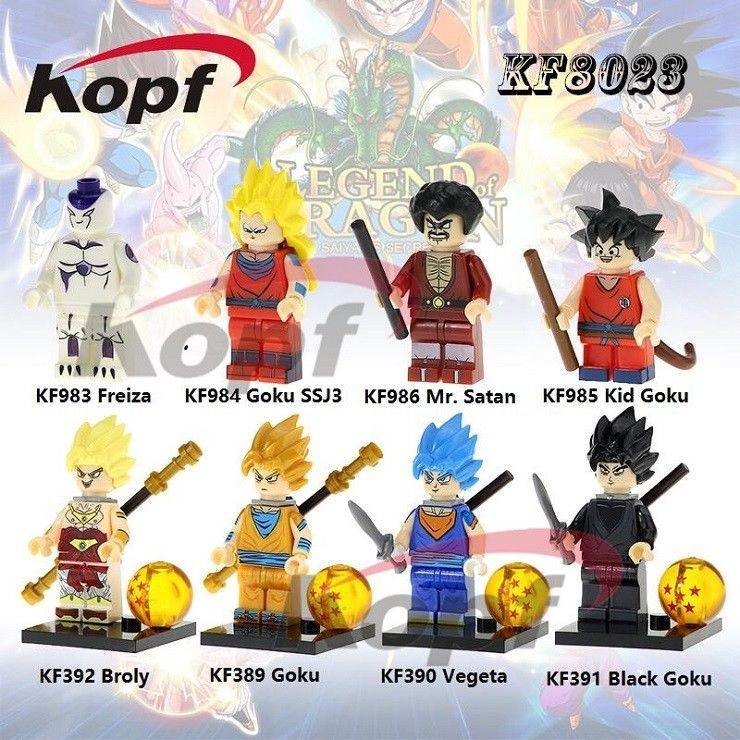 8pcs Dragon Ball Z Figures Kf8023 Goku Broly Freiza Toys Lego Building Blocks Figures Goku Pcs Goku Black Dragon Ball Super Goku Anime Dragon Ball