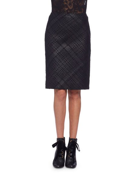 LANVIN BRAIDED-FRONT LEATHER PENCIL SKIRT, BLACK. #lanvin #cloth #
