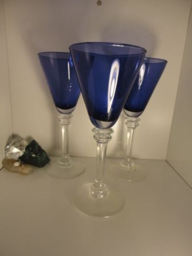 "3 Amethyst Purple Art Glass Wine Goblets with Clear Stems.  They are about 8.5"" x 3.75"" in great condition.  They have a great detailed stem and are lighter than they appear in the photos."