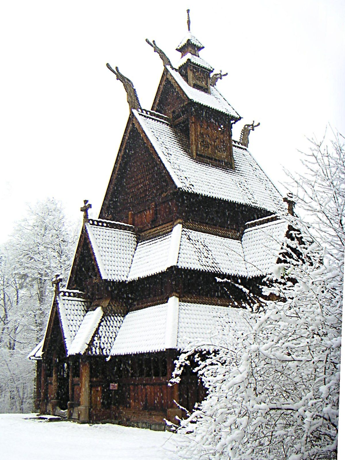 Norwegian old wooden church covered in snow built during