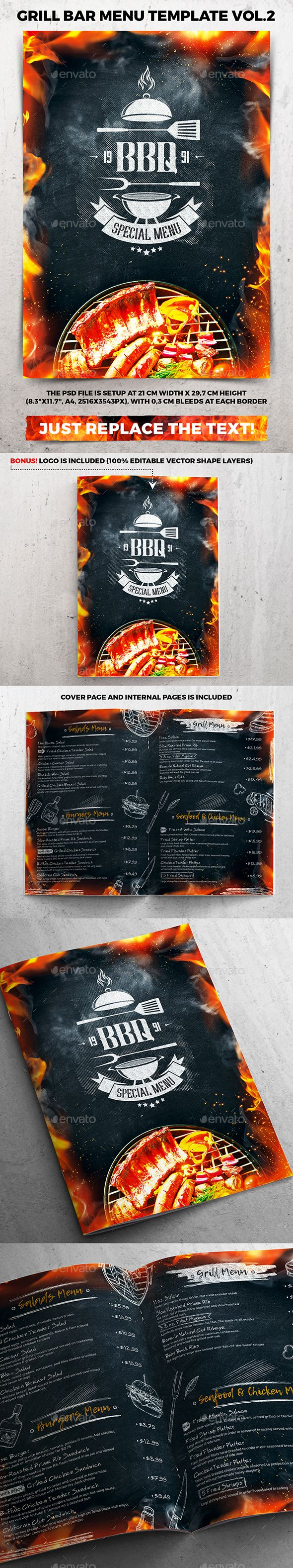 Grill Bar Menu Template Vol  Menu Templates Bar Menu And Menu