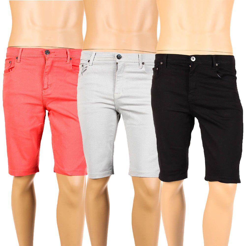 Mens Skinny Denim Shorts Stretch Jeans Solid Color Basic Slim Fit Taper Fashion | Fashion ...