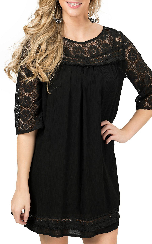 Umgee Women S Black With Lace Trim 3 4 Sleeve Shift Dress Cowgirl Dresses Dressy Fashion Women [ 1440 x 900 Pixel ]