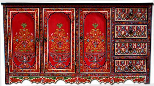 Painted Furniture: Moroccan Red Buffet, Morccan Painted Cabinet