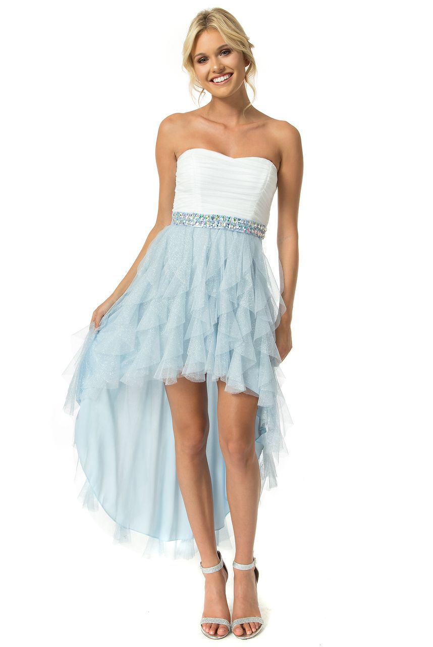 Teeze Me | Off White/Ice Strapless Glitter High-Low Petal Dress ...