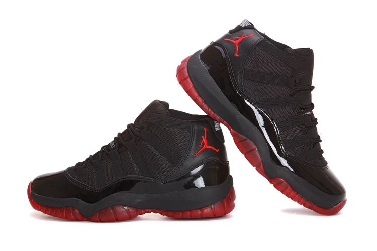 womens air jordan 11 retro black red shoes