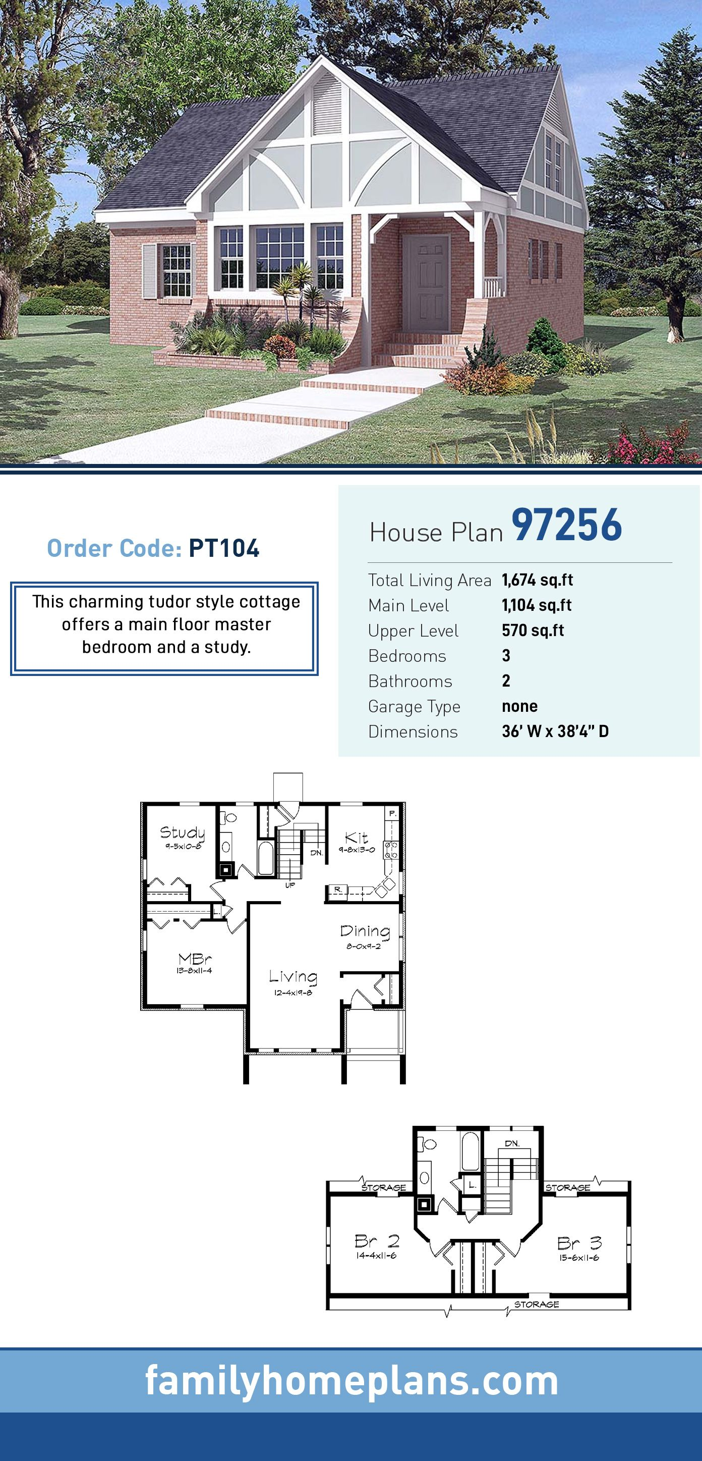 Tudor Style House Plan 97256 With 3 Bed 2 Bath House Plans Tudor Style Homes Cottage Floor Plans