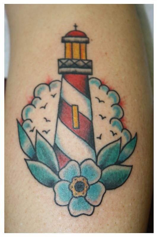 65870d02f8ab2 Simple design without flower and leaves. Faro Tattoo, Traditional  Lighthouse Tattoo, Flower Tattoo