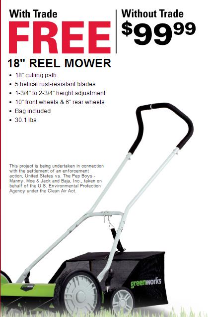 Free Lawnmower Pep Boys Lawn Mower Reel Mower