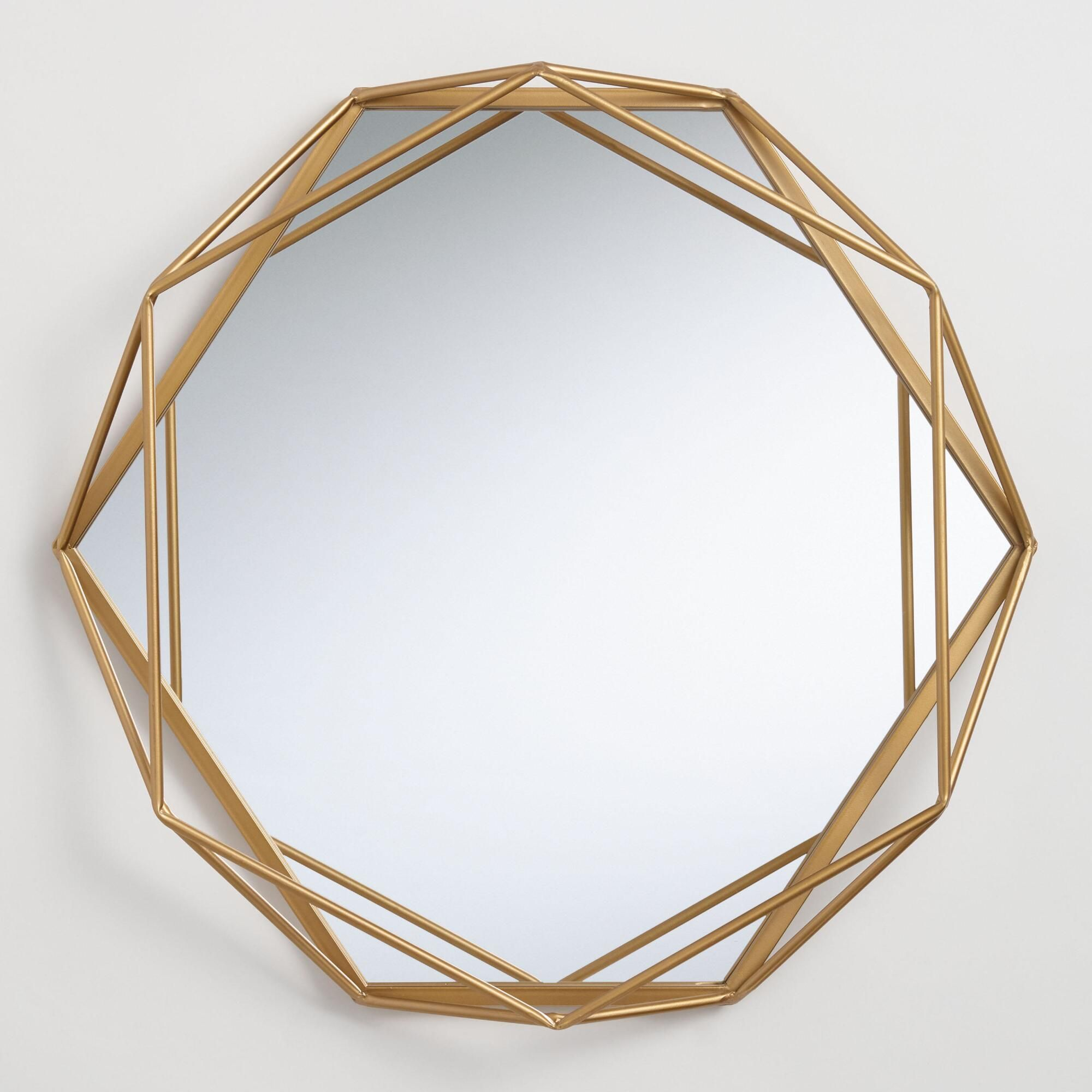 Round Gold Geometric Wall Mirror By World Market Modern Mirror Wall Mirror Wall Living Room Geometric Mirror
