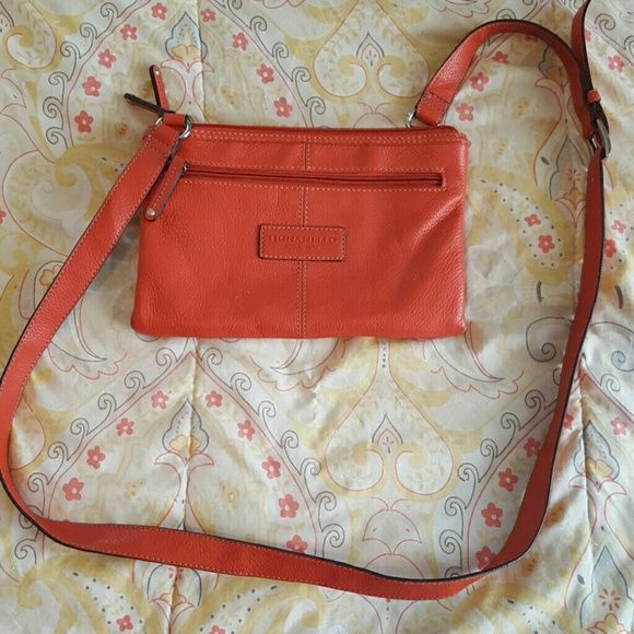 Tignanello Crossbody Purse Orange Excellent Used Condition Bags