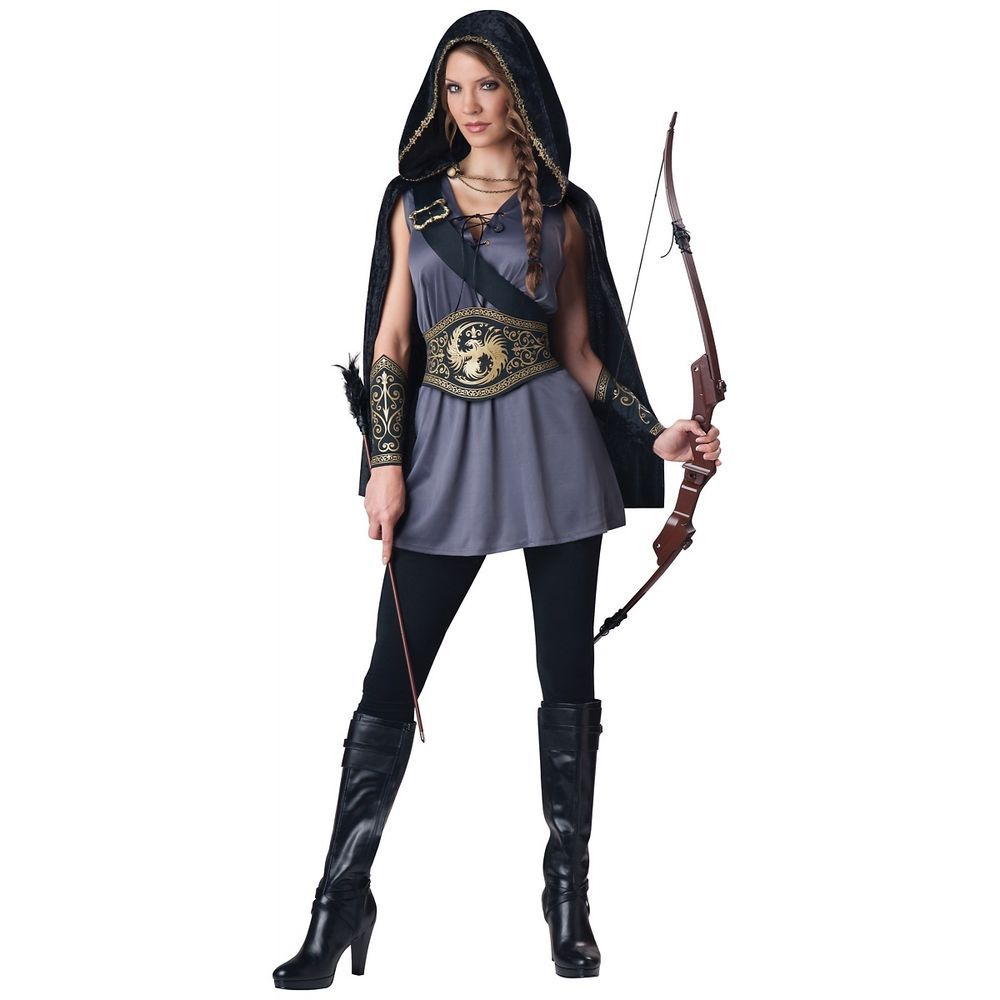 Katniss Everdeen Costume Hooded Huntress Hunger Games Halloween Fancy Dress #Incharacter