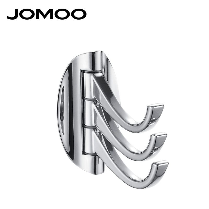 JOMOO Brass Double Robe Hook Chrome Coat Hook Kitchen Bathroom Wall Mounted