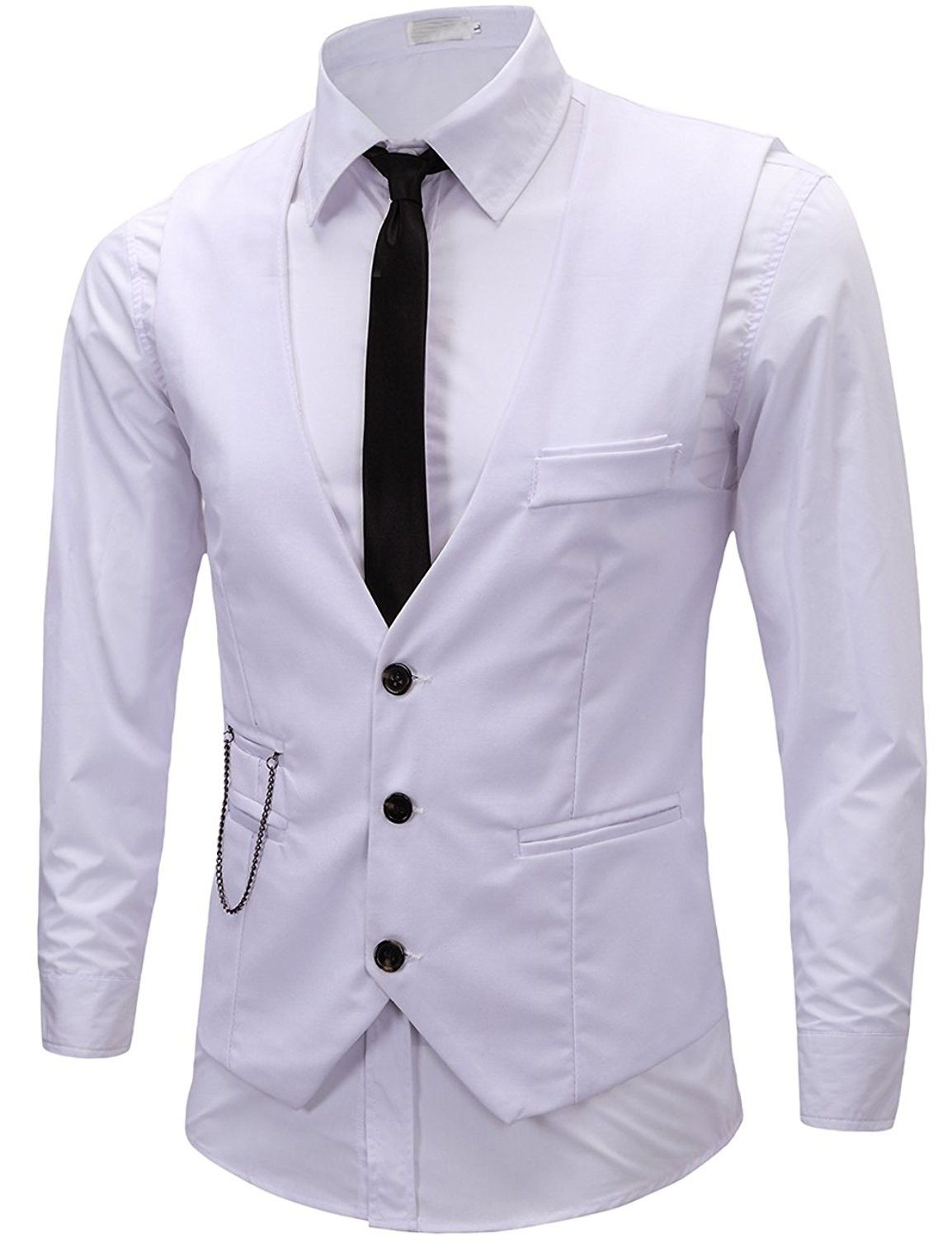 Men's Formal Dress Business Slim Fit Sleeveless Jacket Vest Waistcoat  White  CF1857792CL is part of Clothes Mens Formal - Color White SKU CF1857792CL Giftwrap Available