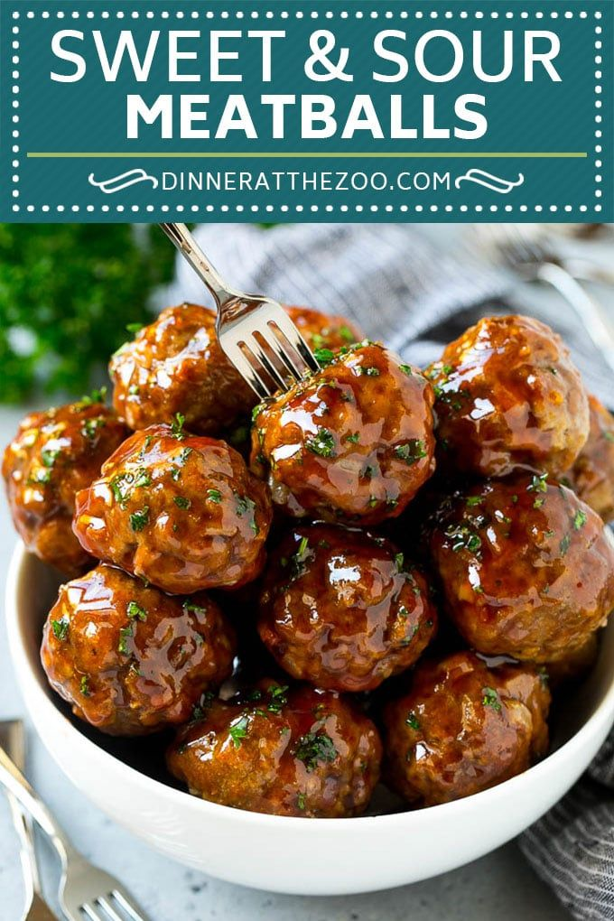Sweet and Sour Meatballs (Slow Cooker) - Dinner at the Zoo