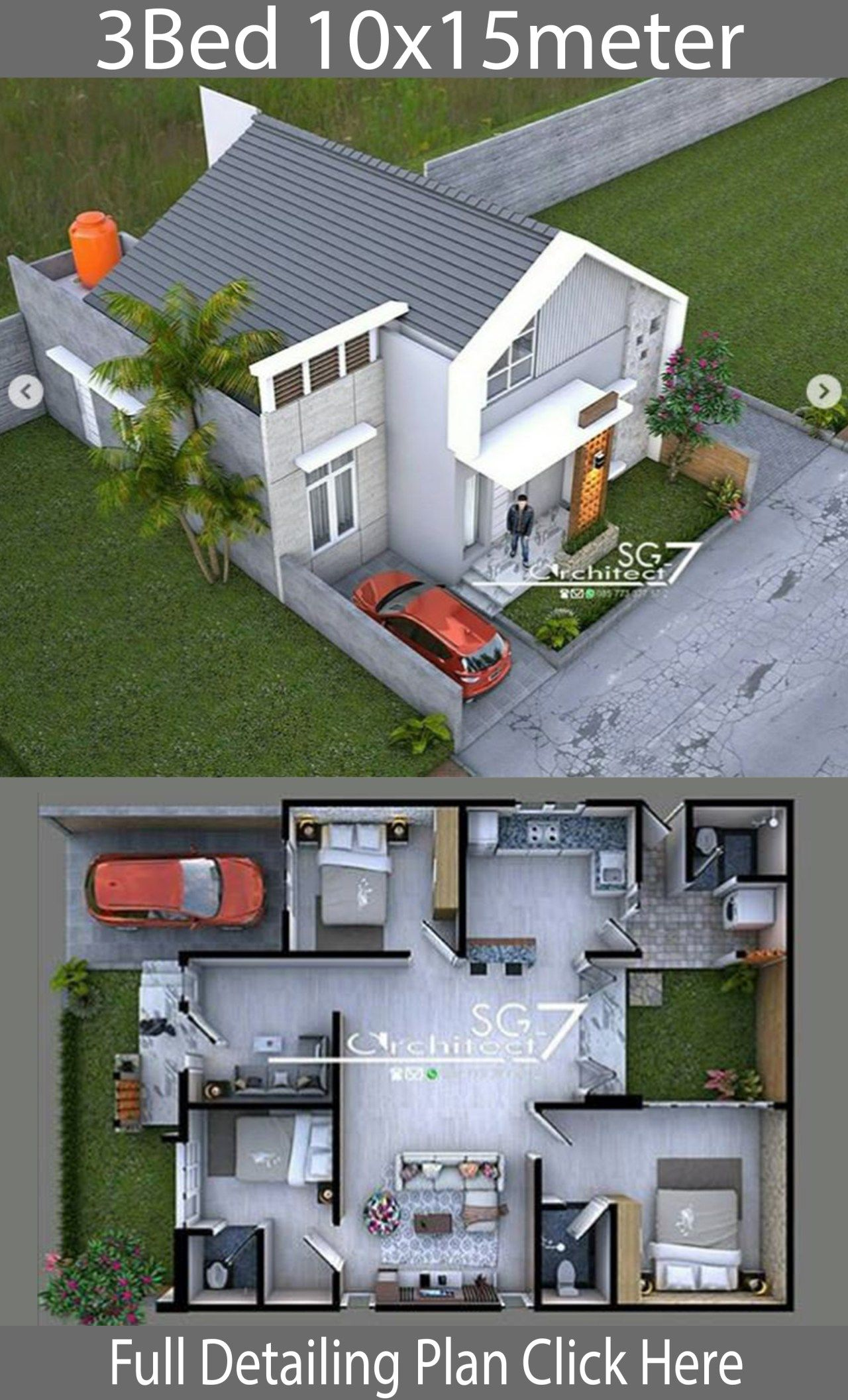 3 Bedrooms Home Design Plan 10x15m Home Ideas Home Design Plan Home Building Design Modern House Plans