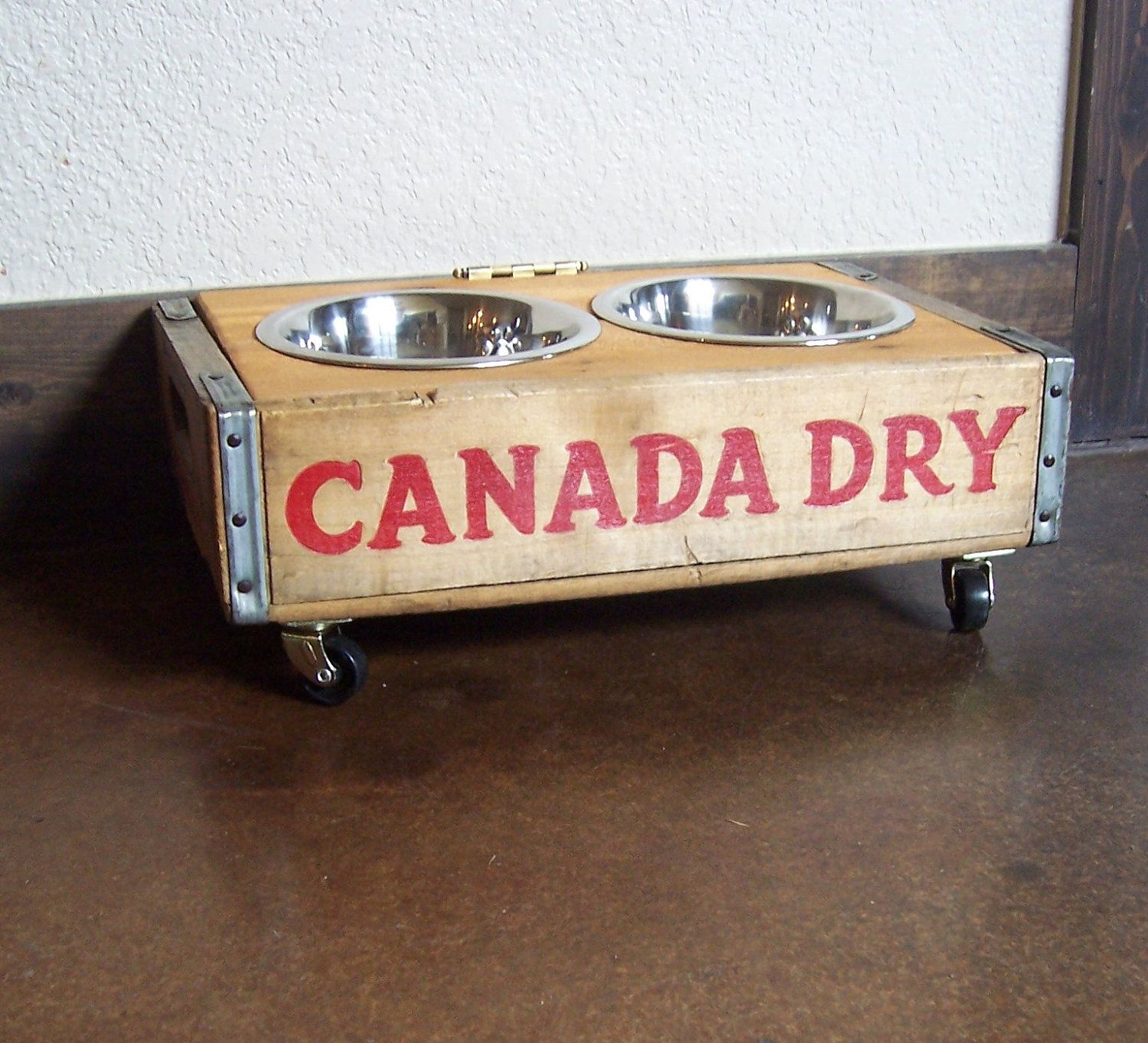 Raised Dog Feeder Upcycled Canada Dry Wood Crate by