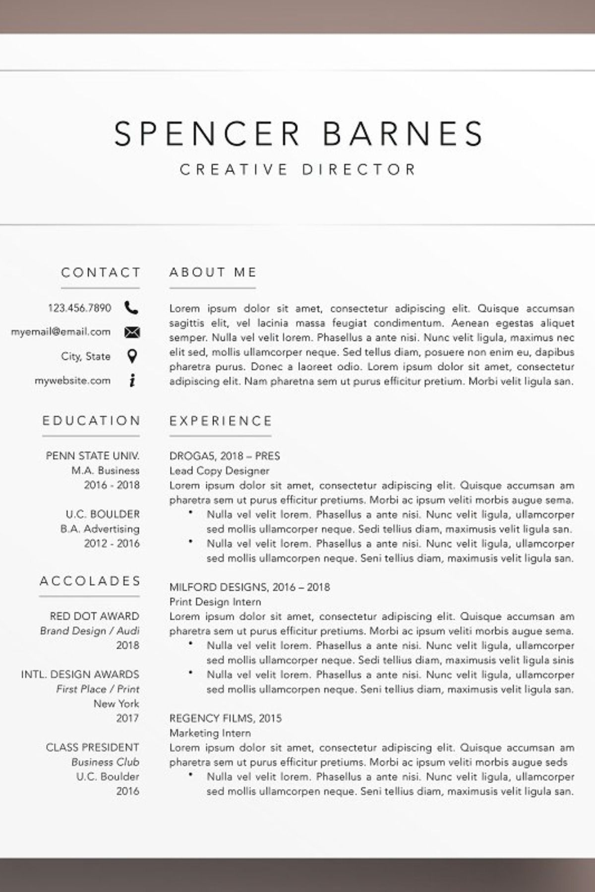 Modern Resume CV Template Word Pages Cv template word