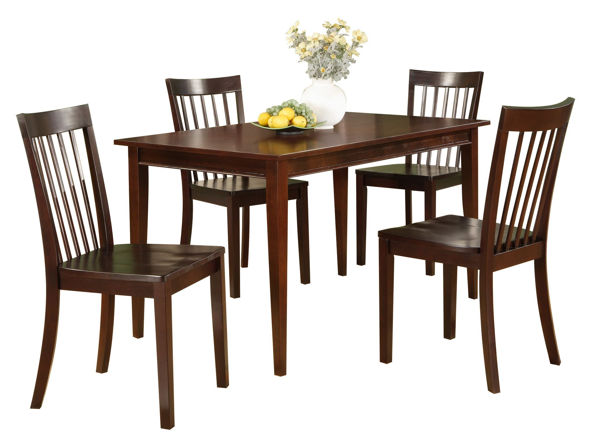 Tanya Dining Set Cherry Wood Rectangular Dining Table Chairs