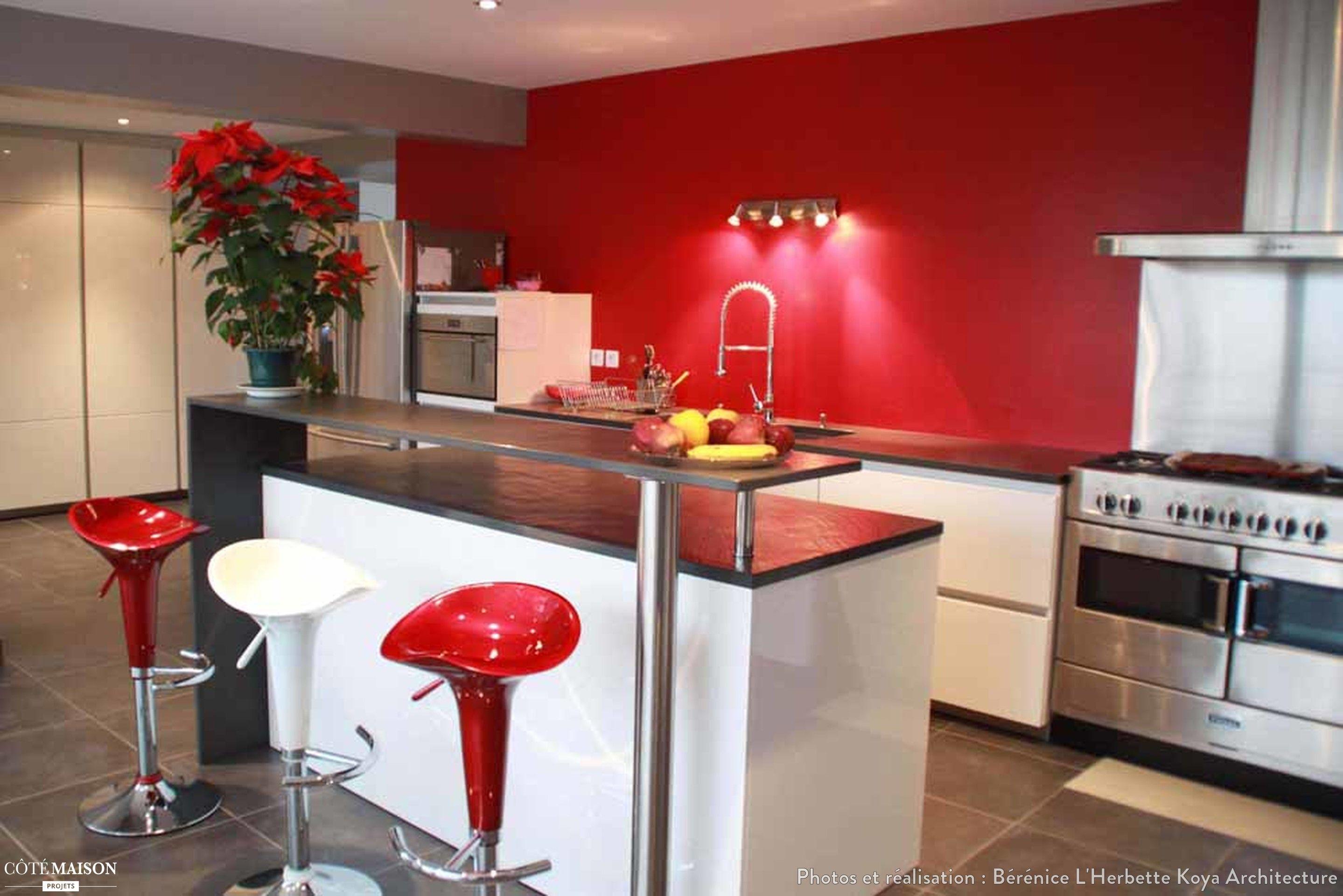 Beautiful Idée Deco Cuisine Blanche Mur Rouge