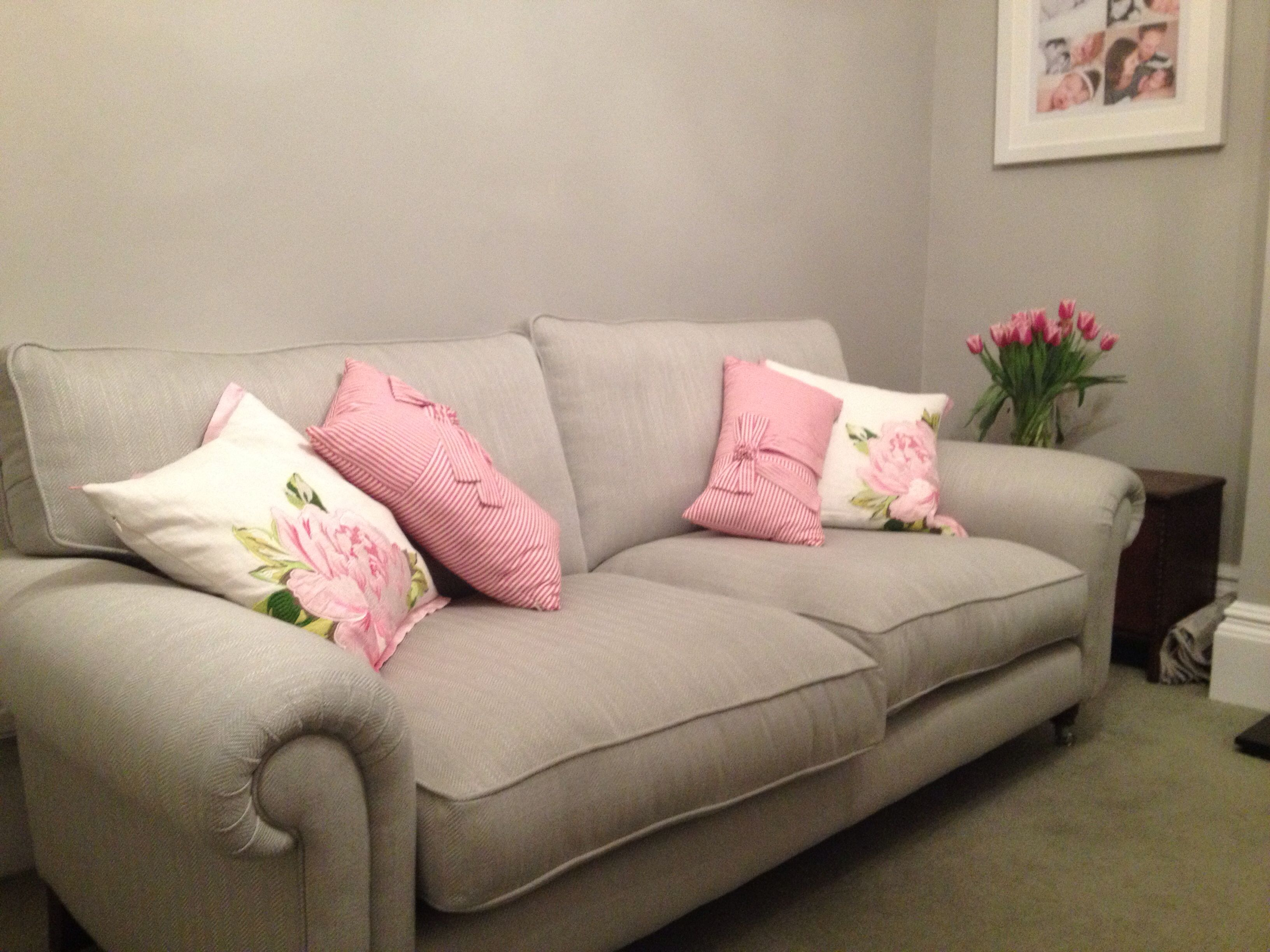 Edwin Grey Sofa From Laura Ashley Walls Are Little Greene French Trying To Decide On Cushions Now