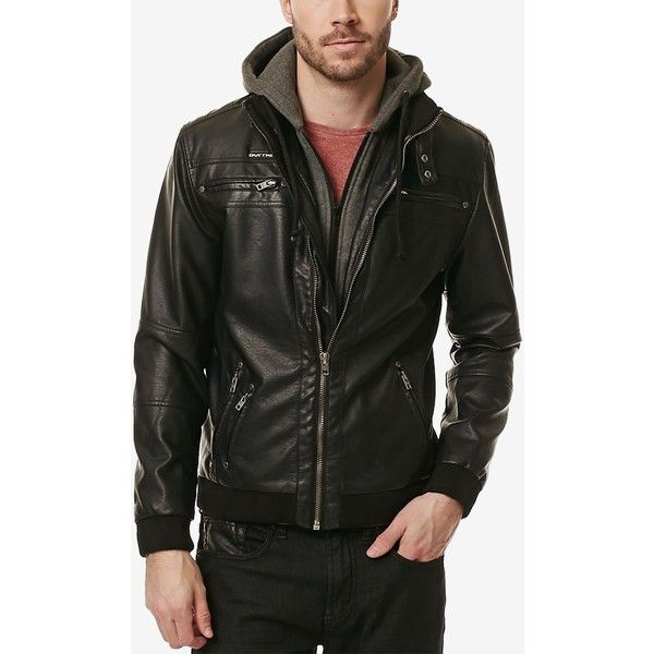 Buffalo David Bitton Men S Jipticalty Faux Leather Hoodie Moto Jacket 110 Liked On Polyvor Faux Leather Hoodie Mens Jackets Faux Leather Motorcycle Jacket