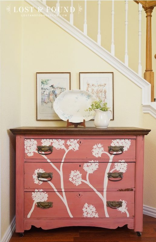Apron Strings Milk Paint Dresser Makeover | http://www.lostandfounddecor.com/makeovers/apron-strings-milk-paint-dresser-makeover/