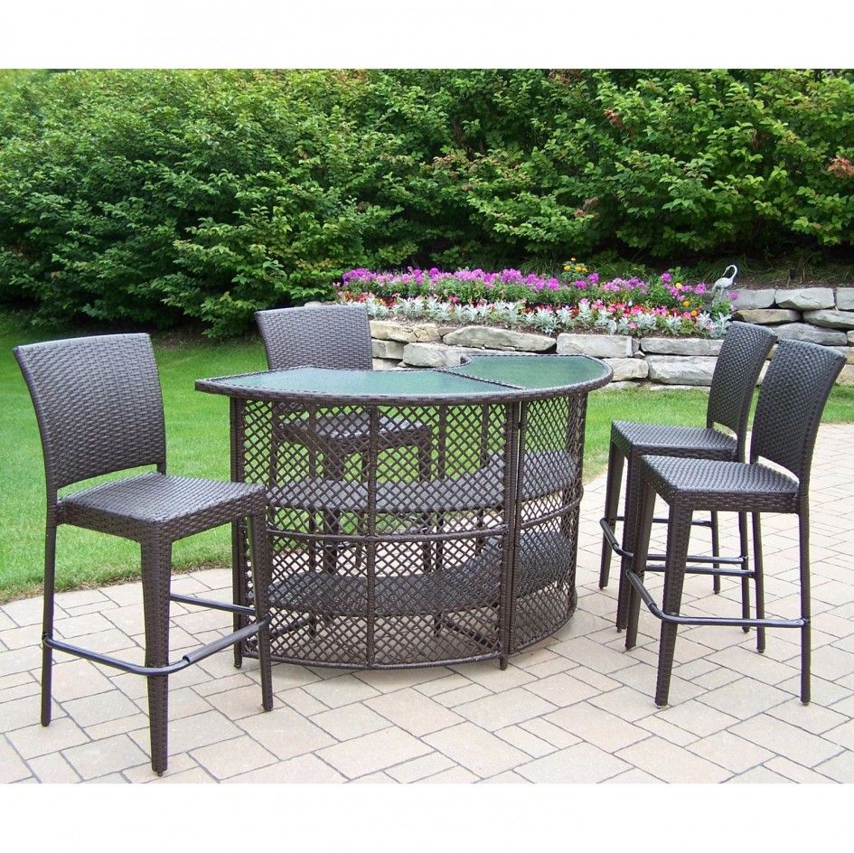 Cool High Table Patio Sets Of Vintage Resin Wicker Chairs And Half Circle Bar  Height Table