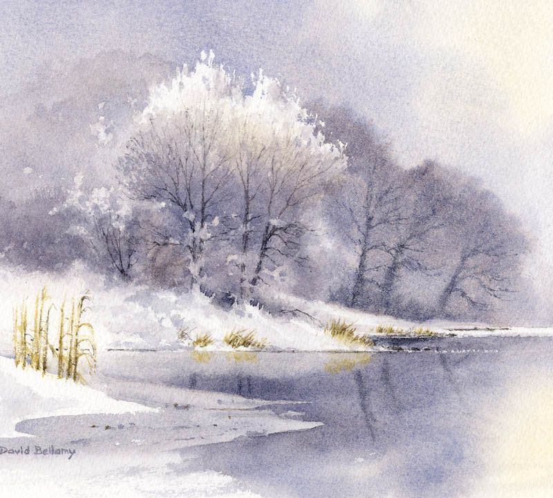 Painting Misty Ice Rimed Trees Winter Watercolor Winter