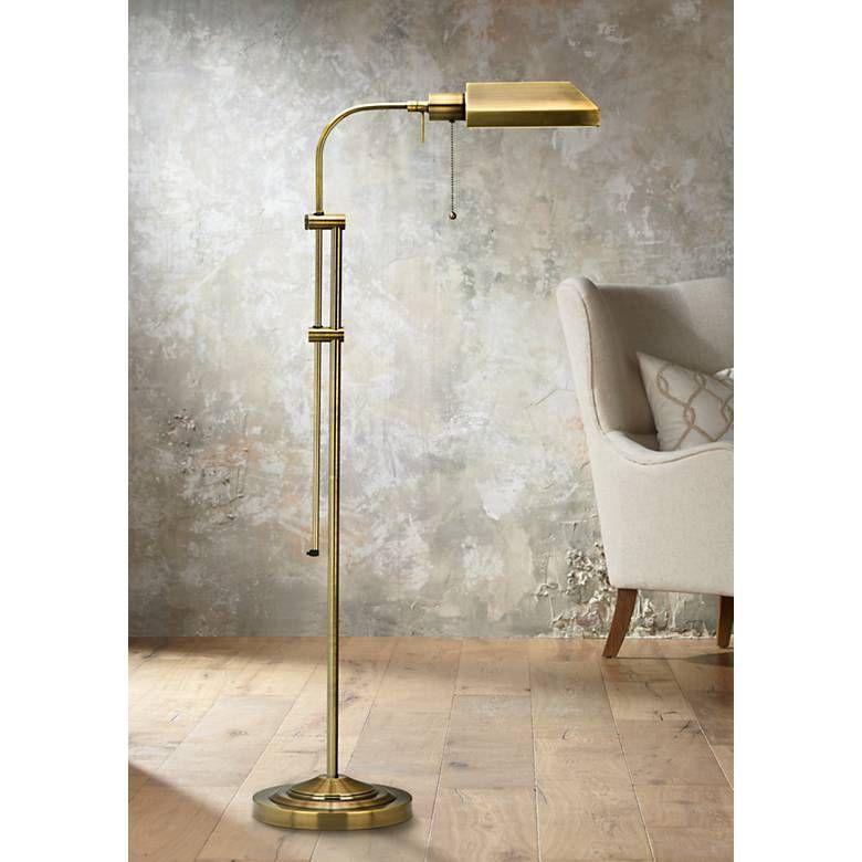 Antique Brass Adjustable Pole Pharmacy Metal Floor Lamp