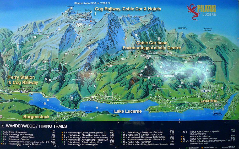 Mt Pilatus activities map, Lucerne, Switzerland | Europe 2017 ...