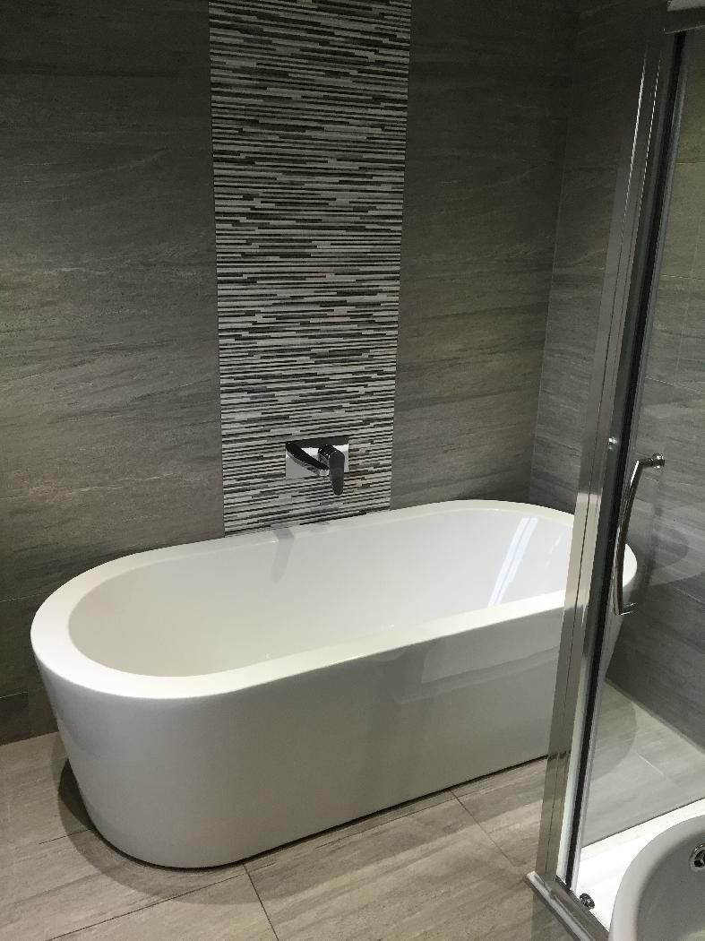 Orchard Wharfe freestanding bath | Grey tiles, Freestanding bath and ...