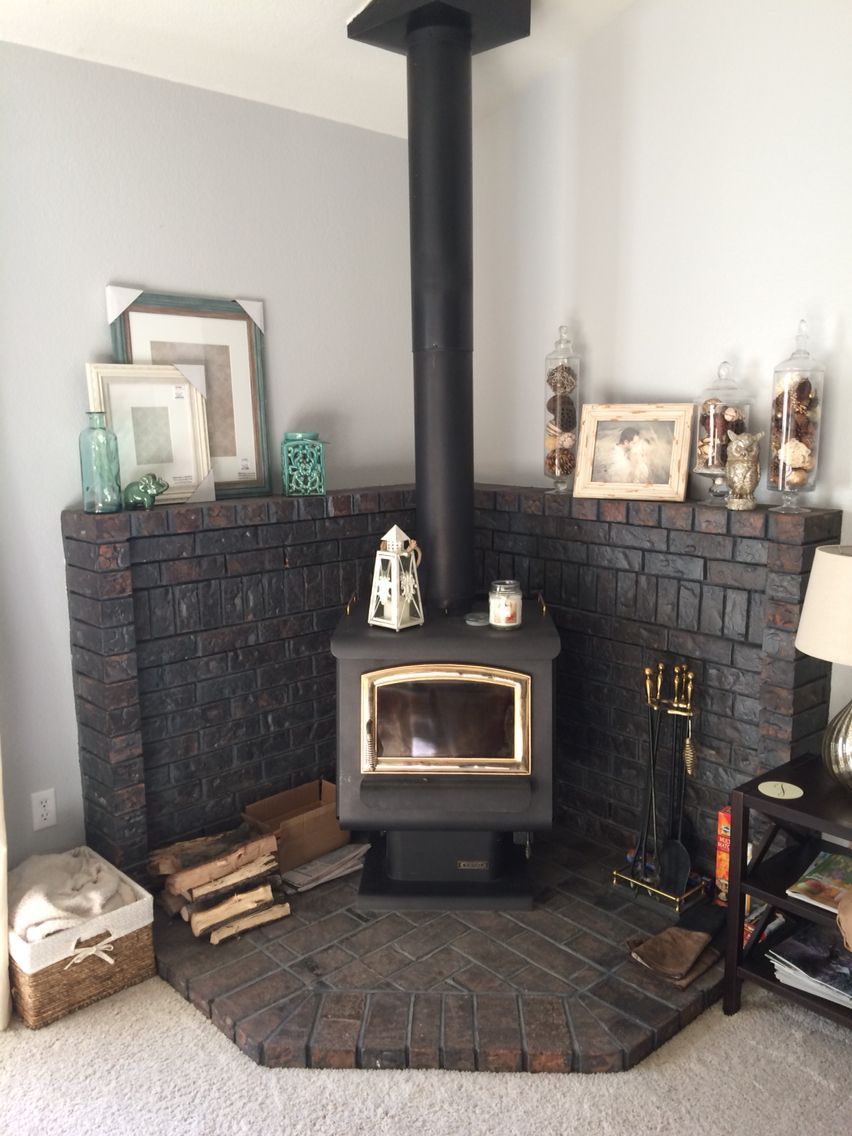 Updated Look On A Corner Wood Burning Stove Fireplace Mantel Wood Stove Fireplace Stove Decor Brick Hearth