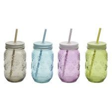 Retro Vintage Style Glass Drinking Jar Lid & Straw Wedding Cocktails Party Bars