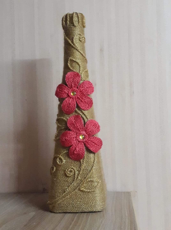 Woolen Thread Decoration In Wine Bottle Glass Bottle Crafts Bottle Crafts Wine Bottle Crafts