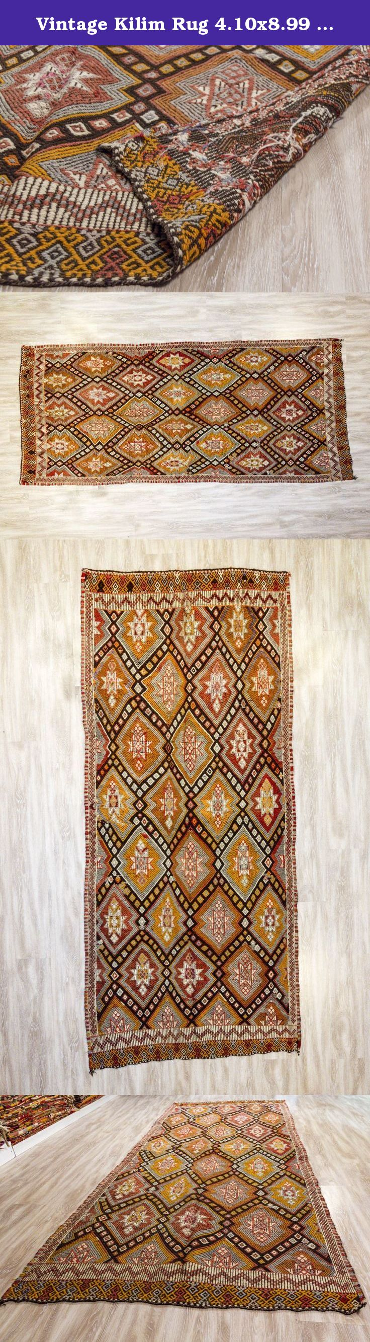 Vintage Kilim Rug 4.10x8.99 ft (125x274 cm). Beautiful vintage Turkish kilim rug around 50-60 years old and in very good condition. Material: 100%wool, hand woven. Size: 4.10x8.99 ft (125x274 cm) Shipping in 1-3* days We use express shipping; USA maximum 4 business days,Europe max. 3 business days *Please note that; we rework all Kilims before ship ( head/end corrections,fringe creation, stretching, border correction,local corrections and re-cleaning etc) We deliver it in perfect…
