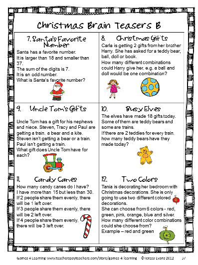 Christmas Brain Teasers With Answers.Christmas Math Activities Games Puzzles And Brain Teasers