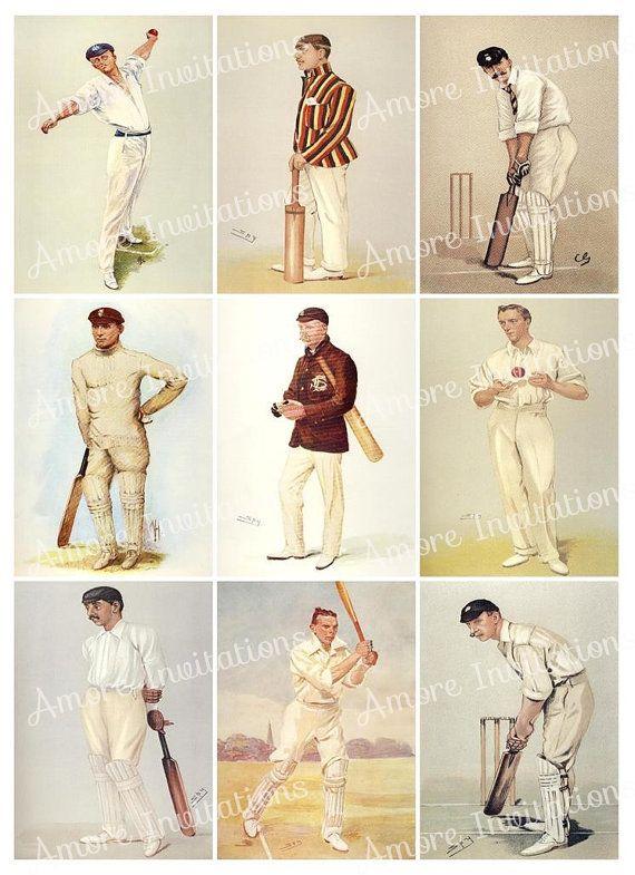 Printable Vintage Cricket Sports Digital Collage Sheet Images ATC JPEG  PDF  Instant Download  Downloadable  Commercial Use Cu Clip Art