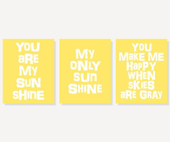 You Are My Sunshine Kids Wall Art (3 Typography Art Nursery Prints ...