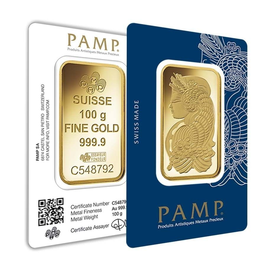 100 Gram Gold Bar Pamp Suisse Lady Fortuna Veriscan 9999 Fine In Assay Buy Gold Silver Silver Bars Gold