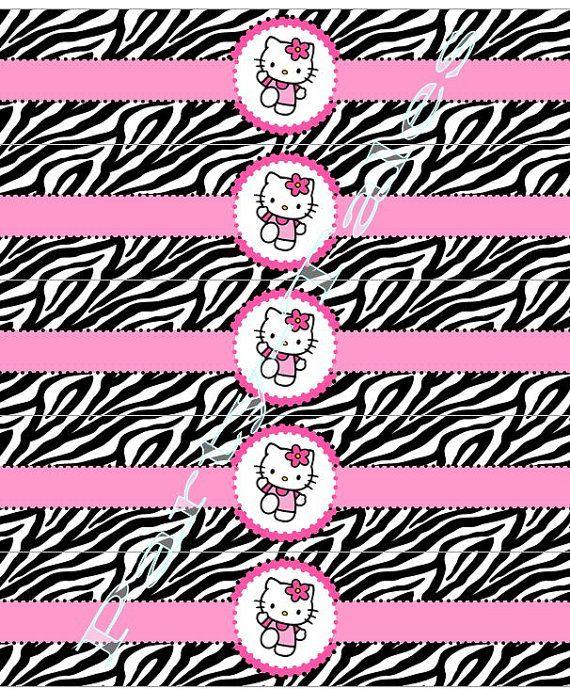 Hello kitty WATER BOTTLE labels Zebra birthday girl party Custom