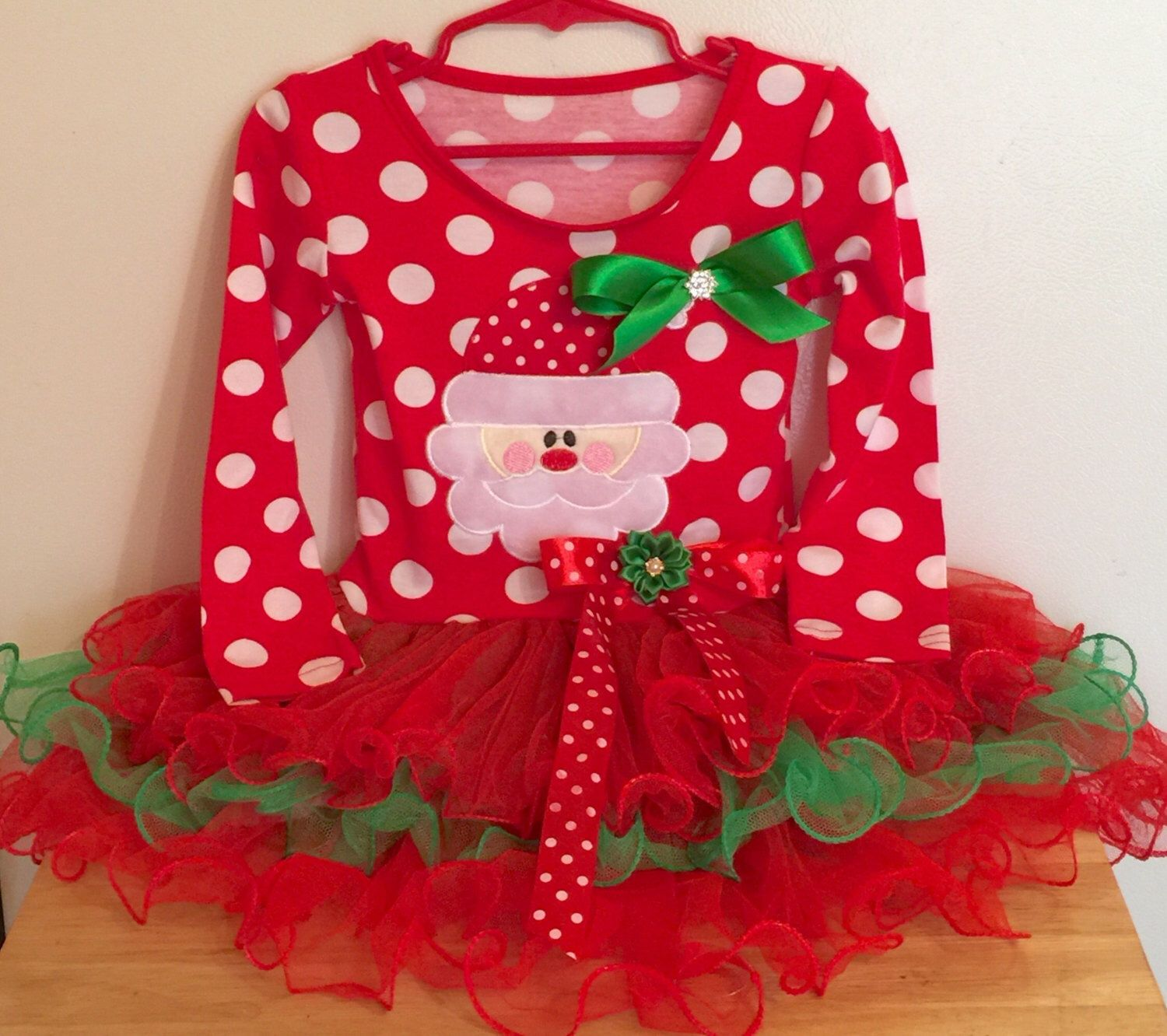 Christmas Red and White Polka Dot Santa Tutu Dress Baby Baby Girl