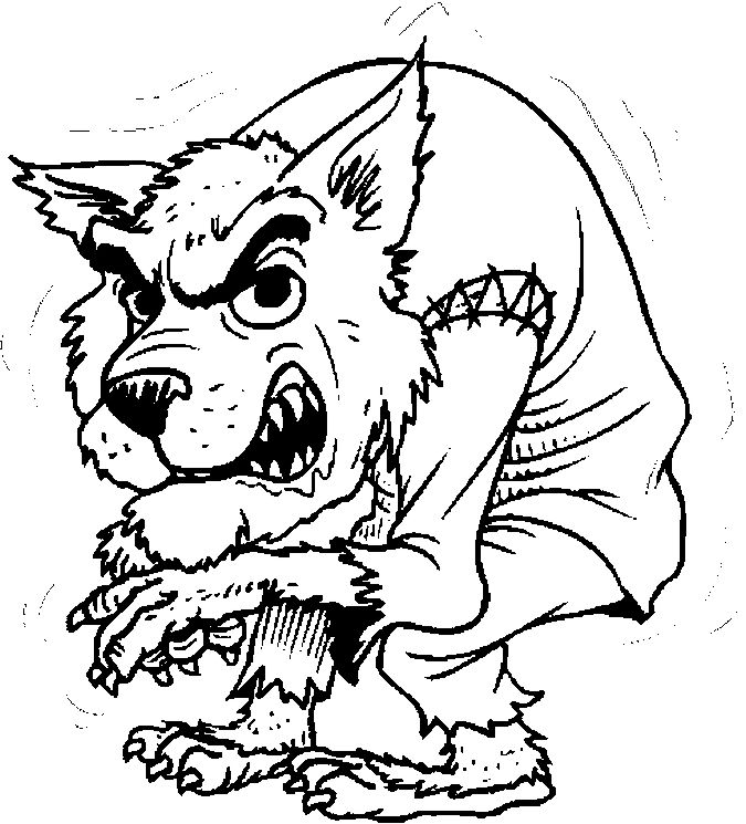werewolf coloring pages for Halloween at coloringbookfun ...