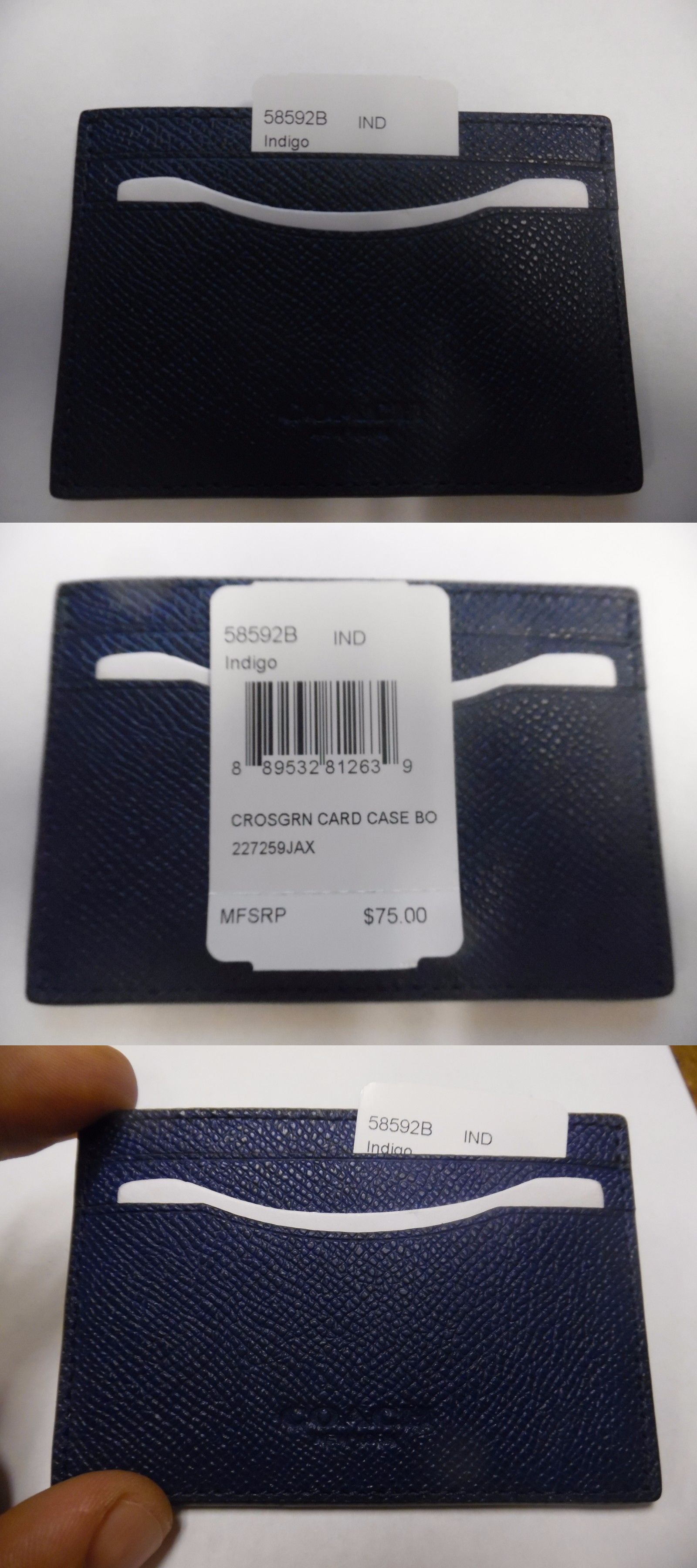 Business and credit card cases 105544 coach 58592b crossgrain business and credit card cases 105544 coach 58592b crossgrain leather card case indigo brand new reheart Image collections