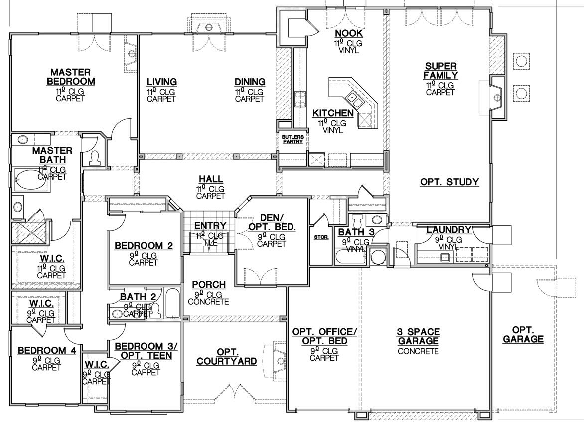 Just Love The Layout Of All Bedrooms On One Side Of The House With The Master As The First Bedroom You Would Come To House Plans How To Plan Floor Plans