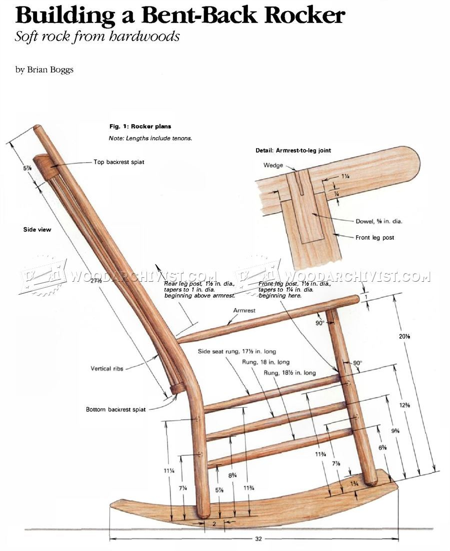 Wooden rocking chair plans -  2702 Build Rocking Chair Furniture Plans